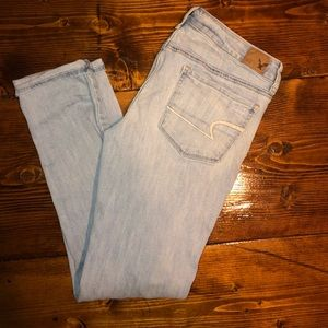 Distressed light American eagle jeans